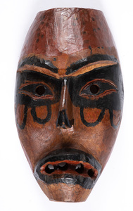 Carved and painted wood tribal mask