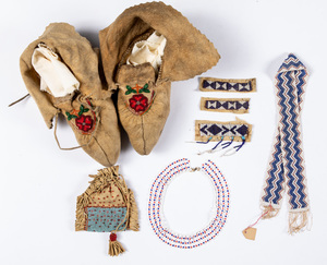 Group of Native American Indian beads and beadwor