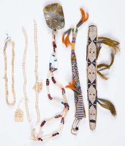 Six Native American Indian bead and beadwork item