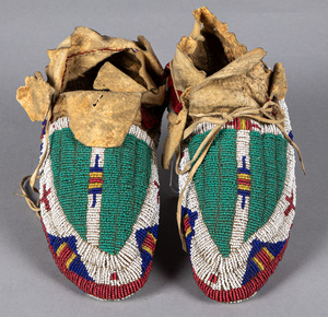 Pair of Sioux Indian type beaded child's moccasin