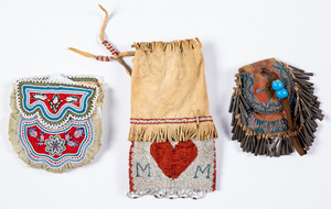 Three Native American Indian beaded bags