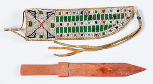 Sioux Indian beaded knife sheath