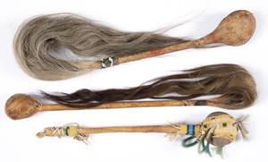 Three stone headed Native American Indian war clu