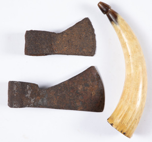 Two colonial era excavated trade axe heads