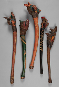 Five Penobscot Indian carved and painted root bal