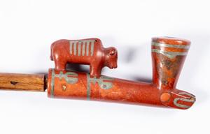 Plains Indian pewter inlaid catlinite smoking pip