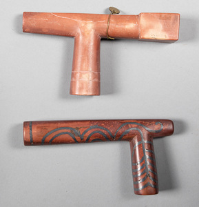 Two Native American Indian catlinite smoking pipe