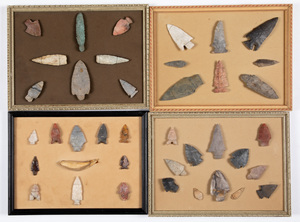 Four framed groups of Native American stone point