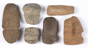 Six ancient stone axe heads, New England types
