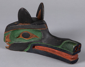 Northwest Coast Indian carved wolf's head