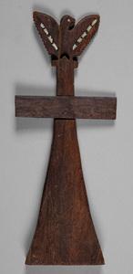 Eskimo carved and inlaid eagle cross