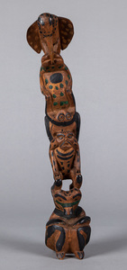 Northwest Coast carved and painted totem pole, wi