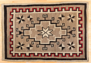 Navajo Indian rug, with Valero Star image within