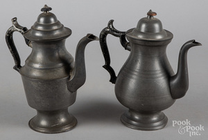Two American pewter coffee pots, 19th c.