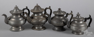 Four American pewter teapots, 19th c.
