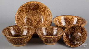 Nest of five Rockingham glaze yellowware bowls
