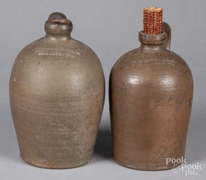 Two Pennsylvania stoneware jugs, 19th c.