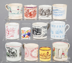 Collection of Staffordshire children's cups