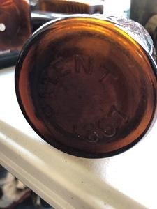 Six glass bitters bottles