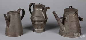 Three tin coffee pots, 19th c.