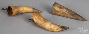 Three carved horn whetstone holders 19th c.