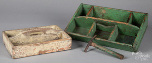 Two painted utensil trays, etc.