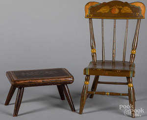 Pennsylvania painted child's chair and footstool