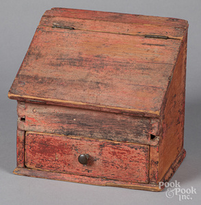 Painted pine hanging box, 19th c.