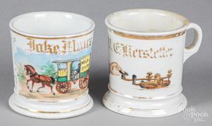 Two porcelain occupational shaving mugs