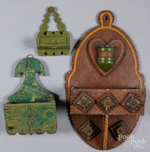 Three painted tramp art wall boxes, ca. 1900