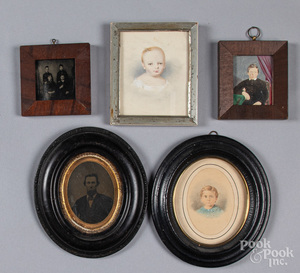 Five miniature portraits and early photographs