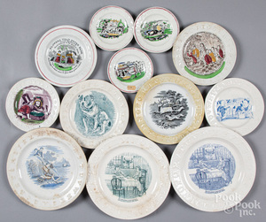 Twelve Staffordshire ABC transferware plates