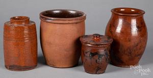 Four redware crocks, 19th c.