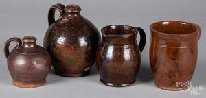 Two redware jugs, etc.