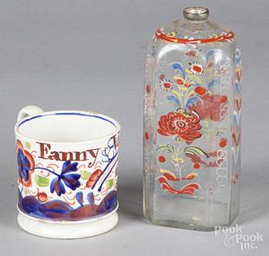 Steigel type enamel glass flask, etc.