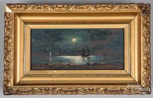 Mary Leisz oil on board moonlit seascape