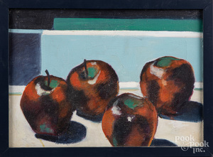 Oil on board still life with apples, etc.