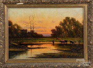 Oil on canvas sunset landscape, late 19th c.
