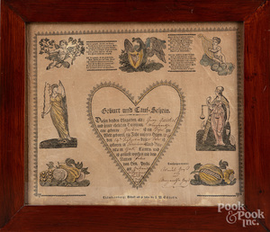 Printed and hand colored birth certificate