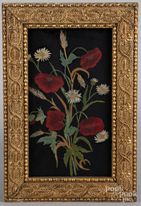 Oil on board of flowers, late 19th c.