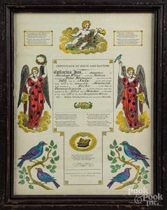 Four Pennsylvania printed and hand colored fraktu