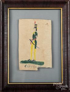 Watercolor fraktur of Captain May