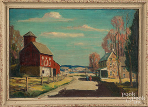 Two oil country scenes, early 20th c.