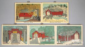 Five oil on board folk scenes of covered bridges