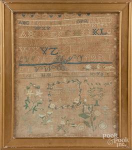 Silk on linen sampler, early 19th c.