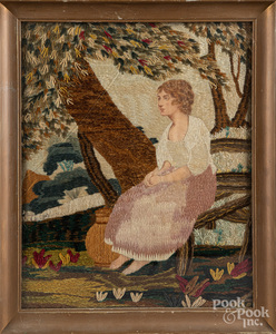 Two pictorial needleworks, 19th c.