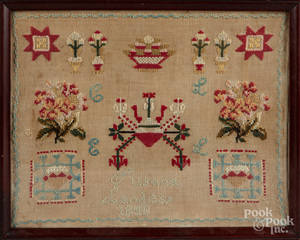 Two wool needleworks, mid 19th c.
