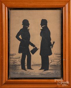 Auguste Edouard, silhouette of two gentlemen