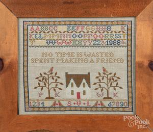 American silk on linen sampler, 19th c.