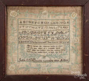 New England silk on linen sampler dated 1819
